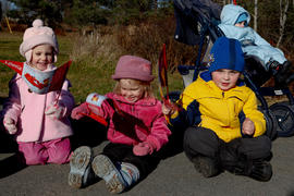 Day 20 Children wave their flags while they wait for the flame to pass in Enfield, Nova Scotia.