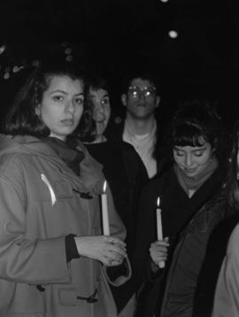 M. Knight [group at candlelight vigil]