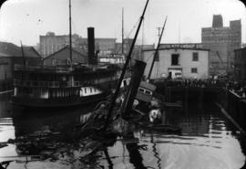 "[Capsized boat ""Ballena"" at Union Steamship dock]"