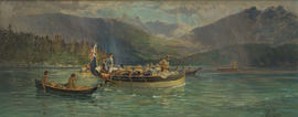 The boats of Captain George Vancouver entering Burrard Inlet AD 1792
