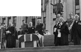 [The Honourable W.C. Woodward, Lieutenant governor makes address at ceremony marking Canada's ent...