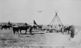 Sarcee Indians moving camp, Calgary, N.W.T.