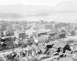 [Birds eye view of Vancouver looking north from tower of Holy Rosary Church]