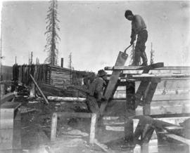 [Whipsawing lumber at Hamshaw's Summit Creek claim]