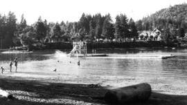 [Diving tower and swim float at Bowen Island Inn]