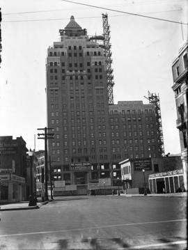 Marine Building under construction, view from Hastings Street