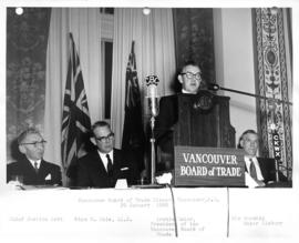 Vancouver Board of Trade Dinner, Archie Cator at podium