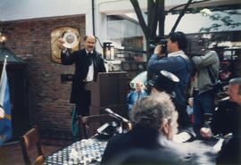 Mike Harcourt speaking at the reenactment of Vancouver's first City Council meeting at 12 Water S...