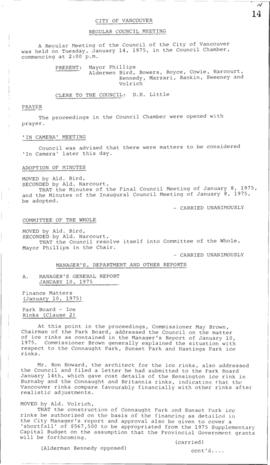 Council Meeting Minutes : Jan. 14, 1975