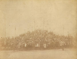 [School children in the grandstand at C.P.R. Park for a reception for Lady and Lord Aberdeen, Gov...