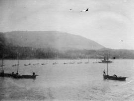 [View of fishing boats near] North Pacific Cannery