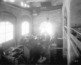 [Interior of partially constructed power house for Buntzen Lake Power Plant number two, showing a...