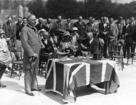 [Mr. Randolph Bruce officiates at the opening ceremonies for the Vancouver Exhibition]