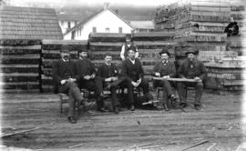 [Men assembled in yard of Moodyville Sawmill]