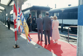 Mayor Harcourt and Becky Harcourt wait for arrival of Jeanne Sauvé at Canadian Pacific Station