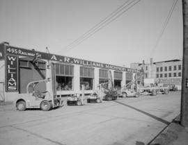 A.R. Williams Machinery, 495 Railway St. - exterior of Bldg. with [Hysler] equipment in front