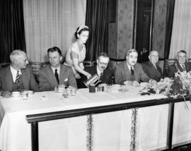 [At Civic Luncheon for opening Granville Street Bridge: head table guests l to r: R.A. McLaughlin...