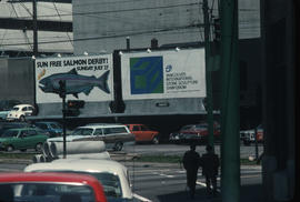 Vancouver streets showing Symposium billboards which were designed by David Lim