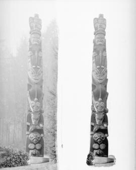 [2 views of a Stanley Park totem pole]