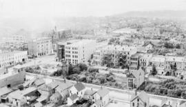 [Birdseye view of Vancouver looking west from tower of Holy Rosary Church]