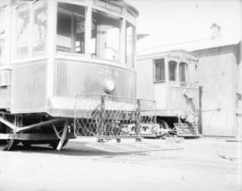 [Front end of streetcar number 284, showing safety fender]