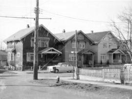 "[View of group of ""old"" houses at 1145, 1147 and 1149 Semlin Street]"