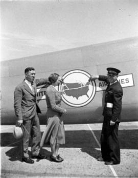 Mr. A. Maclachlan, Miss Bow and Mr. Frank Way [on tarmac] for United Airlines inauguration of air...