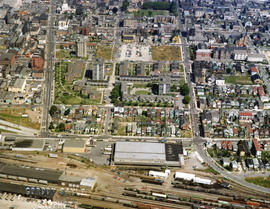 Aerial view of Strathcona, between Jackson and Gore Avenues at Prior, with Canadian Pacific Railw...