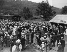 Port Moody, July 3, 1936, re-enactment of arrival of first transcontinental passenger train, July...