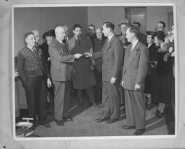 [An unidentified group presentation in the Kerrisdale Branch of the Royal Bank of Canada]
