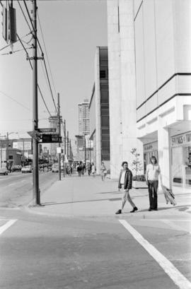 Sidewalk at the intersection of Hornby Street and Robson Street