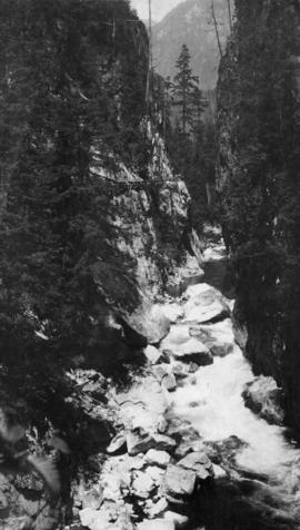 Capilano River with flume (on left) for cedar shakes