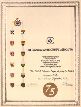 Canadian Manufacturers' Association 75 year membership certificate