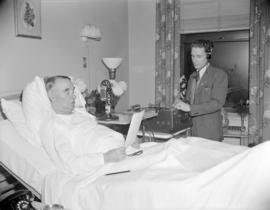 [Mayor Gerry McGeer doing a radio broadcast from his hospital bed]