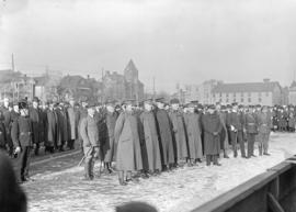 [Senior officers and crowd at Cambie Grounds]