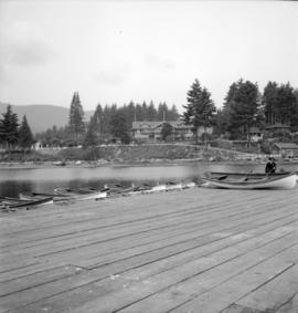 [Boats and wharf across from the Bowen Island Inn]