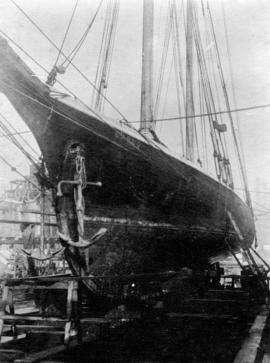"[Yacht ""Casco"" in dry dock at Vancouver shipyards]"