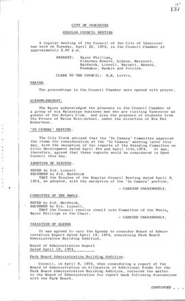 Council Meeting Minutes : Apr. 23, 1974