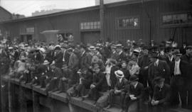 "[Onlookers on wharf watching the ""Komagata Maru""]"
