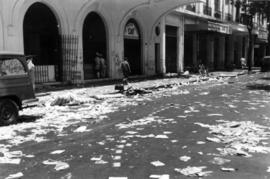 Riot damage, rubble and debris at the Hotel Majestic