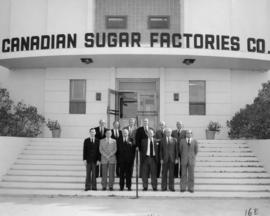 BC Sugar directors and Alberta executive on steps of Taber factory