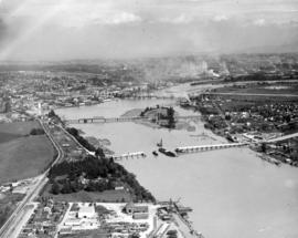 [View of the Oak Street, B.C. Electric and Middle Arm bridges]