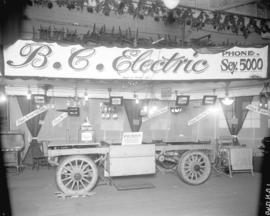 [B.C. Electric Railway Co. exhibition booth, displaying electric storage battery operated truck a...