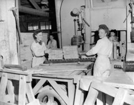 Alaska Pine [showing] girls in lumber mill