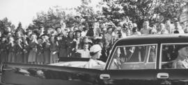[H.R.H. Queen Elizabeth and Prince Philip in car at U.B.C.]