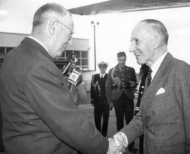 [Mayor Fred Hume greets the Right Honourable Vincent Massey]