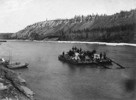 A fully loaded scow heading for the Klondike