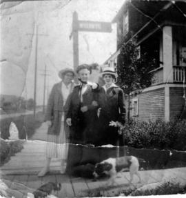 Mrs. Elizabeth Hines with [her] daughters - [standing beside 3500] Willow Street, Vancouver