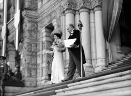 [Queen Elizabeth and Premier T.D. Pattullo on steps of Legislature Building]