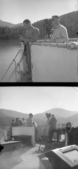 [Film crew shooting glaciers in Alaska from a USS boat]